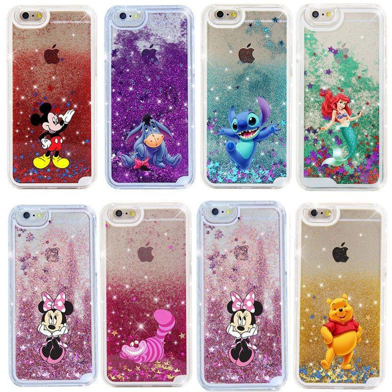 6 55 for iphone x 6 7 8 cartoon figure glitter moving liquid hard
