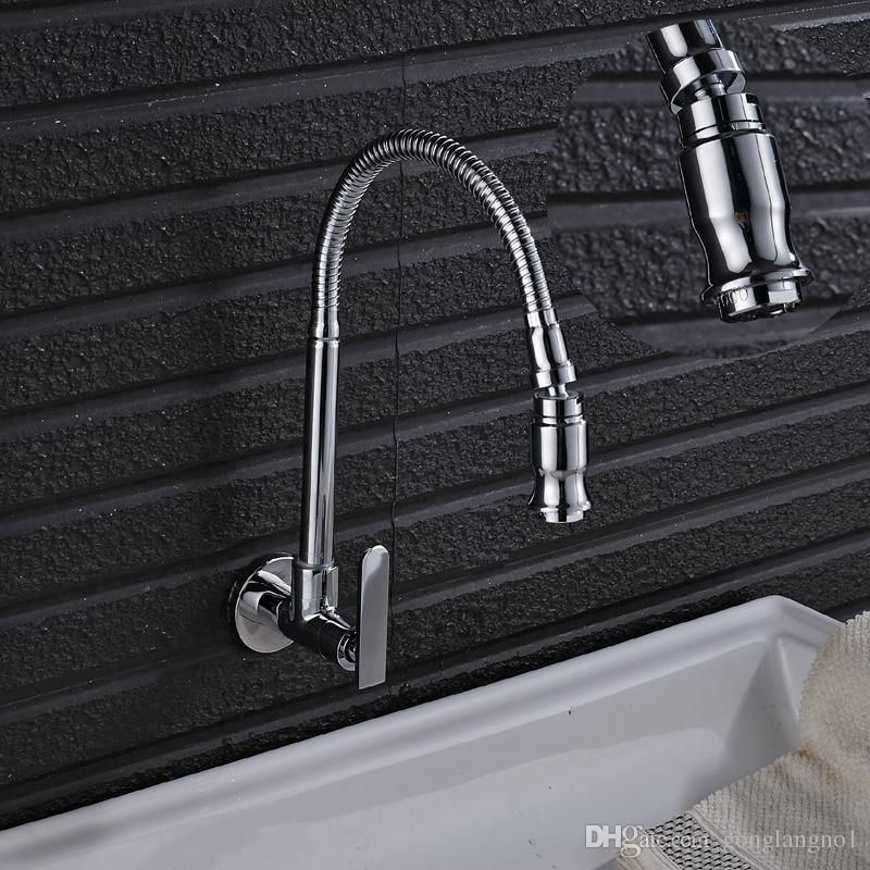 2017 Wall Mounted Chrome Basin Kitchen Bathroom Bath Faucet Mixer Tap Single Handle Pull Down Sprayer From Wall Mount Kitchen Faucet Kitchen Faucet Wall Faucet