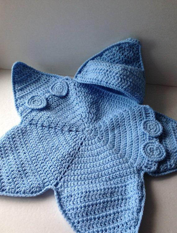 Blue Baby Bunting Bag - Blue Star Bunting - Handmade Crochet - Made ...
