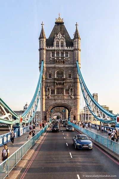 The iconic Tower Bridge in London, England. This is one of the most recognizable London landmarks. Click through for more pictures on the A Lady in London blog.   #london #towerbridge