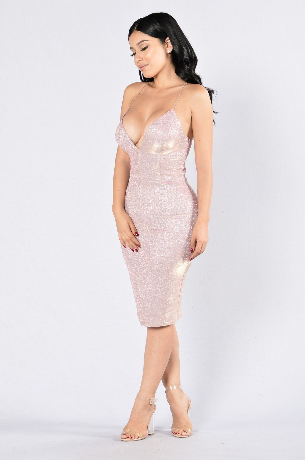ece7510e Available in Silver and Rose Midi Length Dress Spaghetti Straps X Back V  Neckline Thin Padded Cups Lined Sparkly Design 100% Polyester