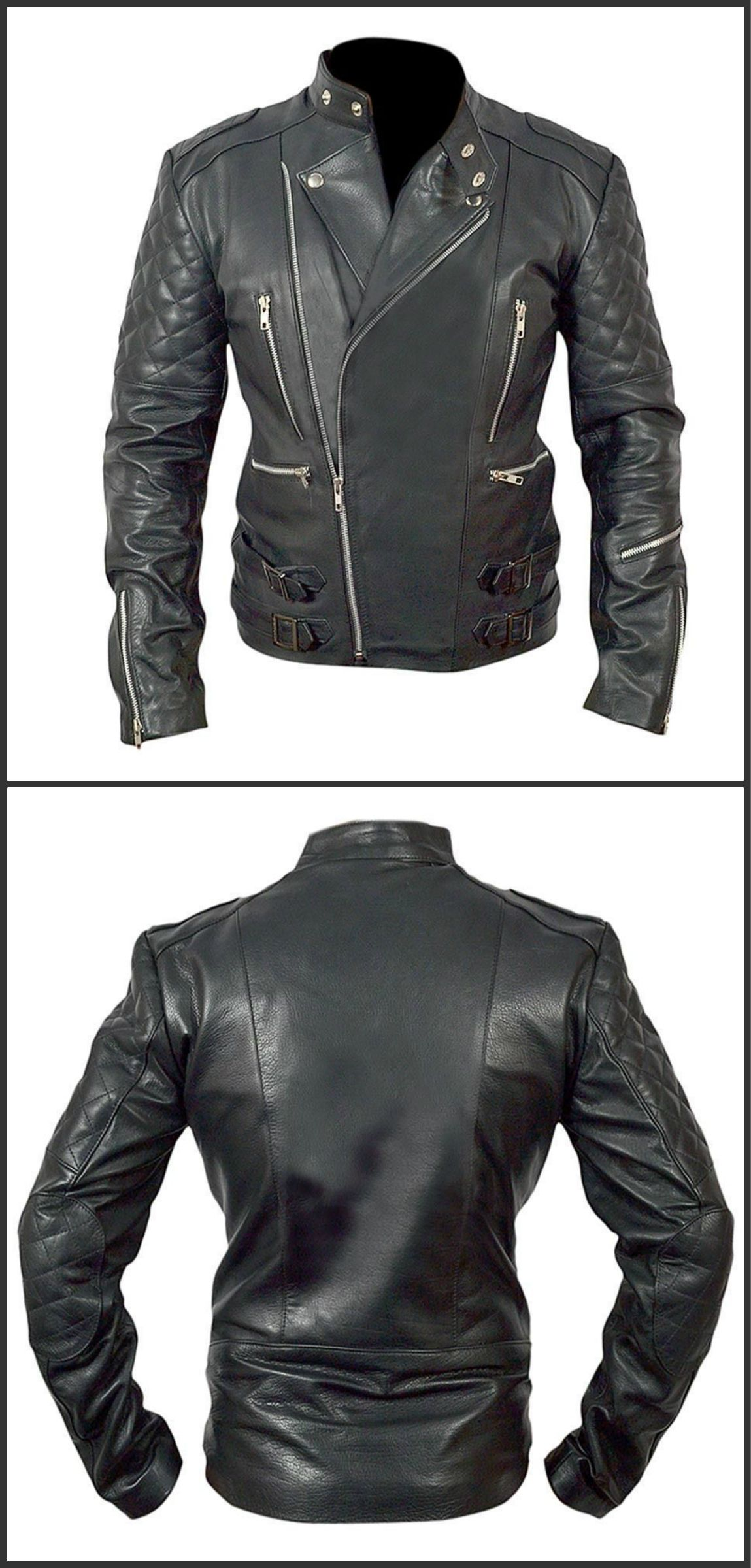 7e6bef8bd Details about Mens Brando Motorcycle Biker Cowhide Top Grain Black ...