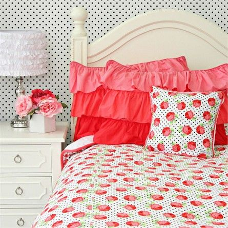 Girly Coral Rose Duvet Cover Farmhouse Kids Bedding