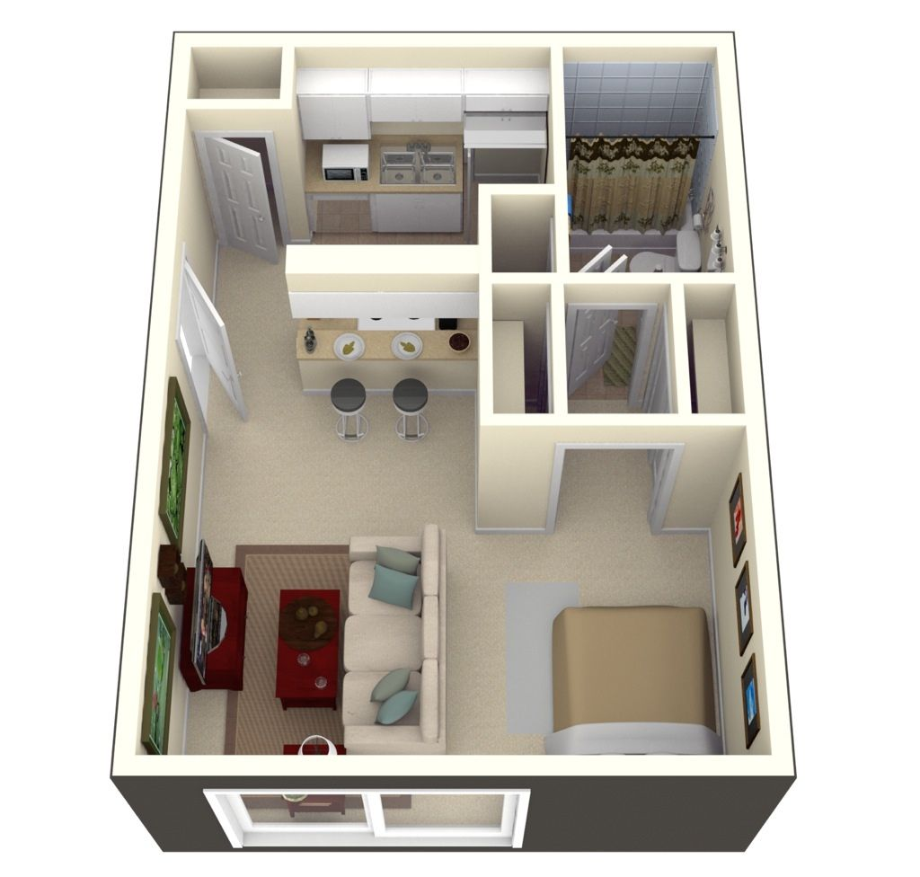 In Tampa FLs Bay Oaks  Square Feet Of Living Space Can Go A - Modern studio apartment design layouts