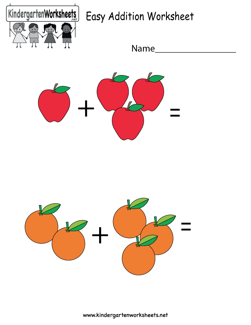 Kindergarten Easy Addition Worksheet Printable