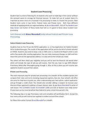 Student Loan Processing  Student Loan