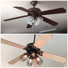 Diy ceiling fan makeover add cage bulb guards and edison bulbs diy ceiling fan makeover add cage bulb guards and edison bulbs john took fan aloadofball Image collections