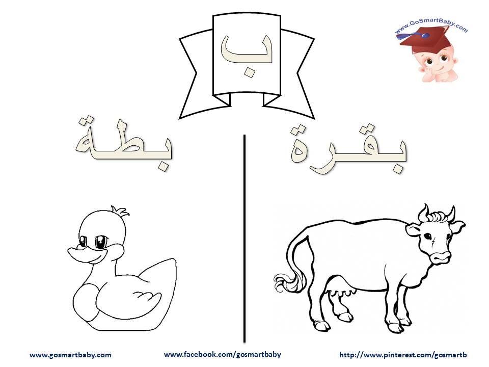 تلوين الحروف العربية حرف الباء ب Learn Arabic Alphabet Arabic Alphabet Arabic Kids