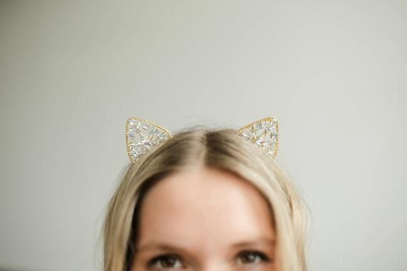 Kitty Ear Headband || Kitty Princess || Car Ears Gold Crown Headband || Princess Headband With Kitty Ears and Crown #crownheadband