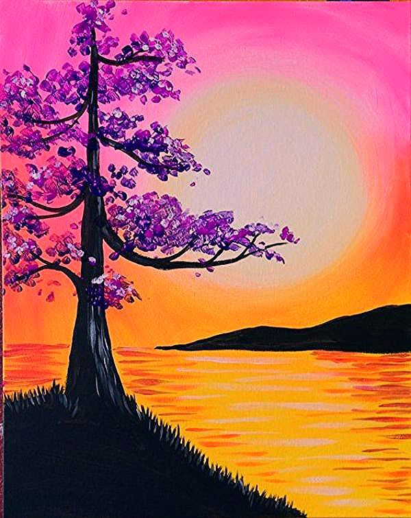 Easy Acrylic Painting Ideas For Beginners In 2020 Scenery Paintings Beginner Painting Tree Of Life Painting