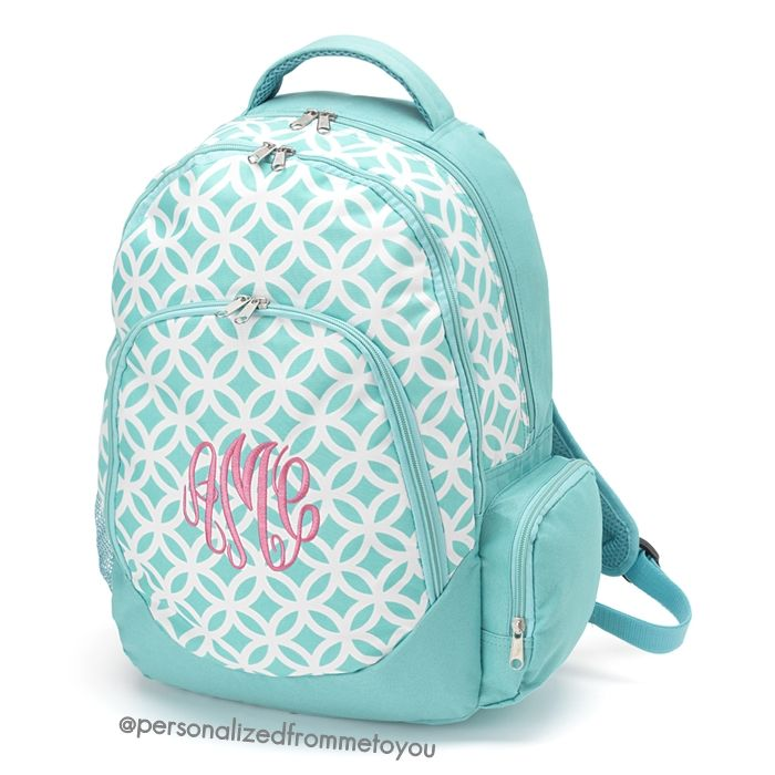 Monogrammed Backpack Aqua Sadie | Personalized From Me To You ...