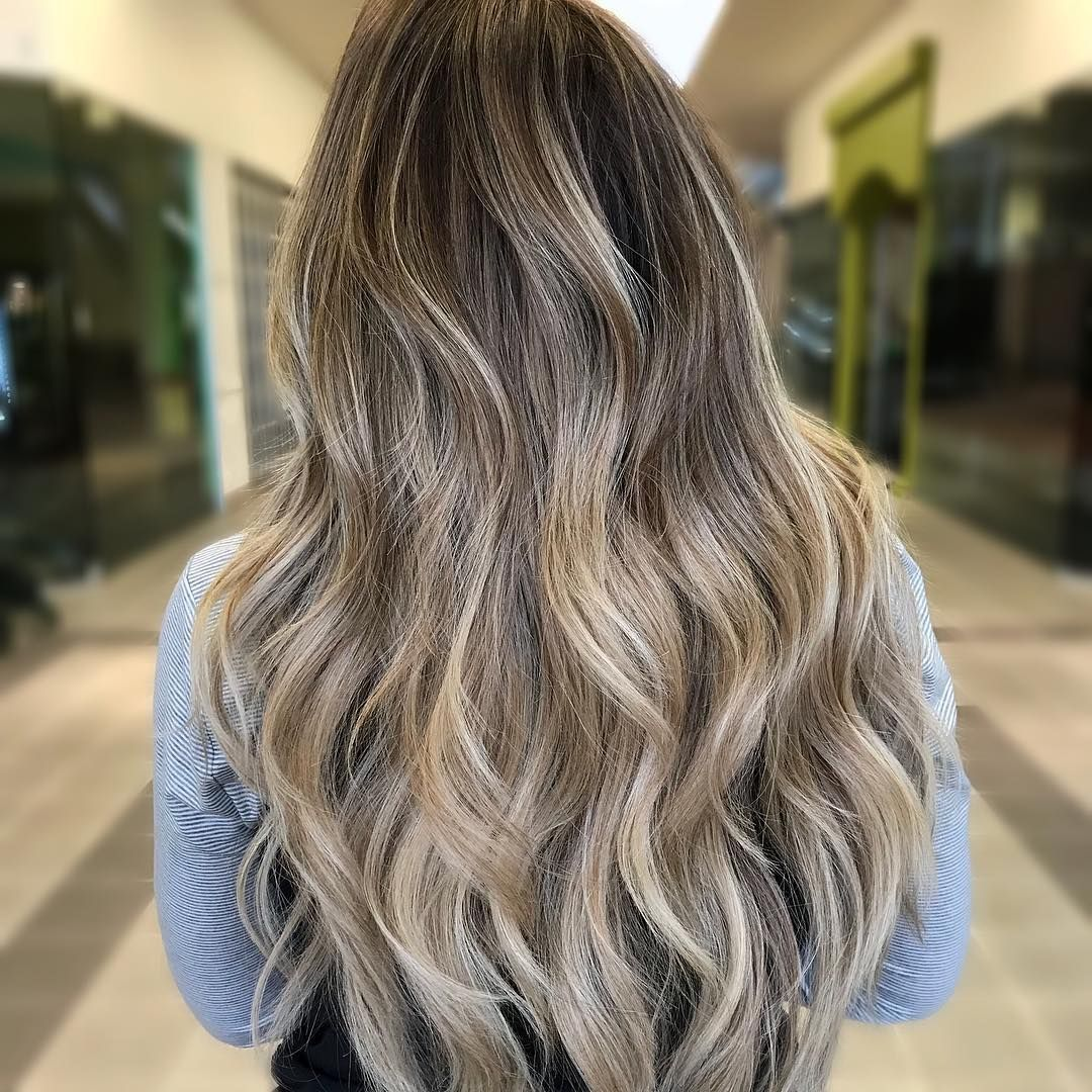 beige brown and ashy blonde ombre on long hair in 2019