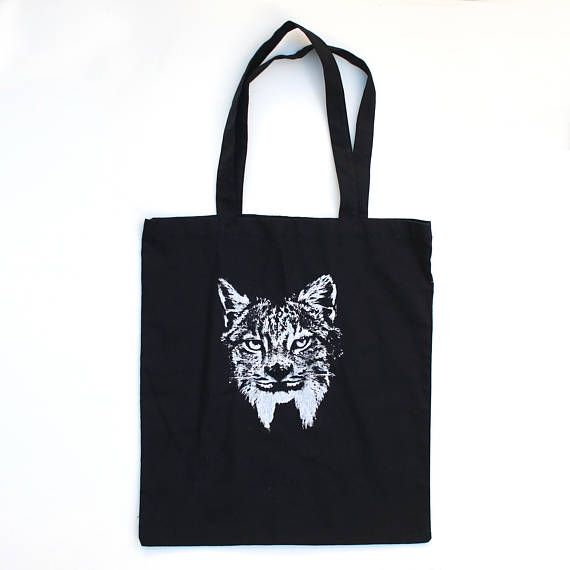 Black Tote Lynx 100 Cotton Perfect Gift For The Cat