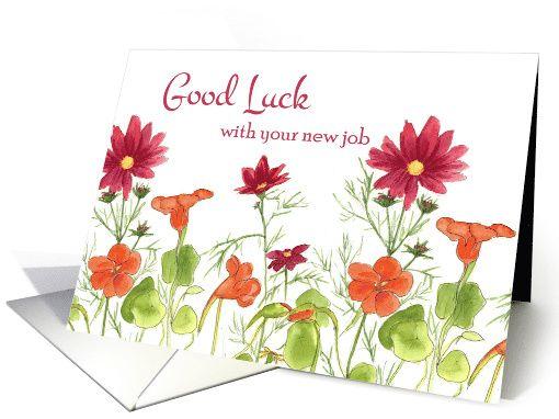 Good luck with your new job orange nasturtium flowers greetingcard good luck with your new job orange nasturtium flowers greetingcard m4hsunfo Choice Image