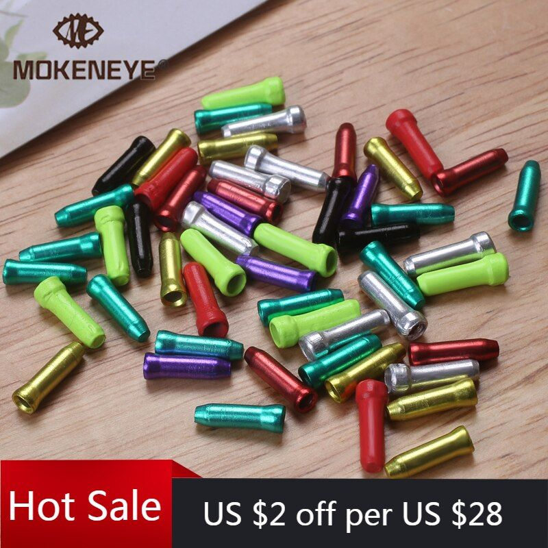 50Pcs//Lot Bicycle Cable End Caps Aluminum Alloy Brake Shifter Inner Cable Tips