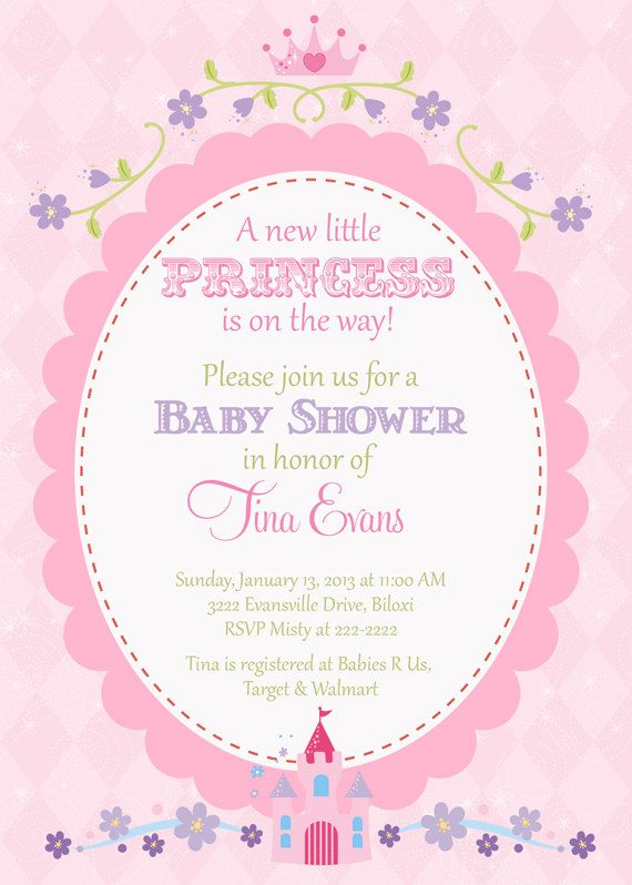 Captivating Princess Baby Shower Invitation, Pretty Pink With Oval Frame With Castle,  Crown And Flowers