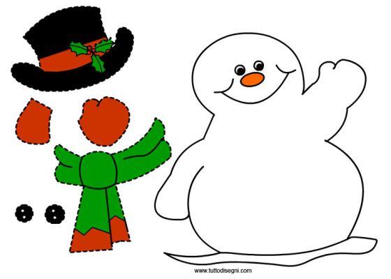 Pupazzo Di Neve Di Carta Da Ritagliare E Incollare Pupazzo Di Neve Opere Di Cucito Natalizie Bambini Di Natale