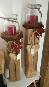 Leuchter Saule Kerzen Holz Dekoration Windlicht Holzbalken In