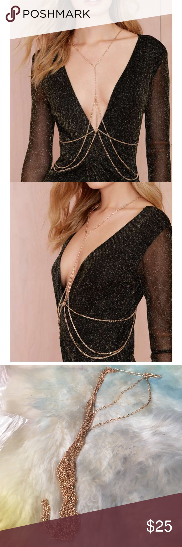 """#1243 nasty gal Heart of Gold Body Chain is made in inter-crossing rose gold chains and features dainty gold bar detail. Adjustable lobster clasp. Looks killer over a bodycon with drop earrings. *Sythetic materials *26""""/66cm length *Imported Nasty Gal Jewelry"""