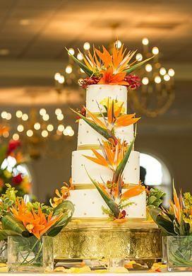 Orange White Tropical Birds Of Paradise 4 Tier Wedding Cake