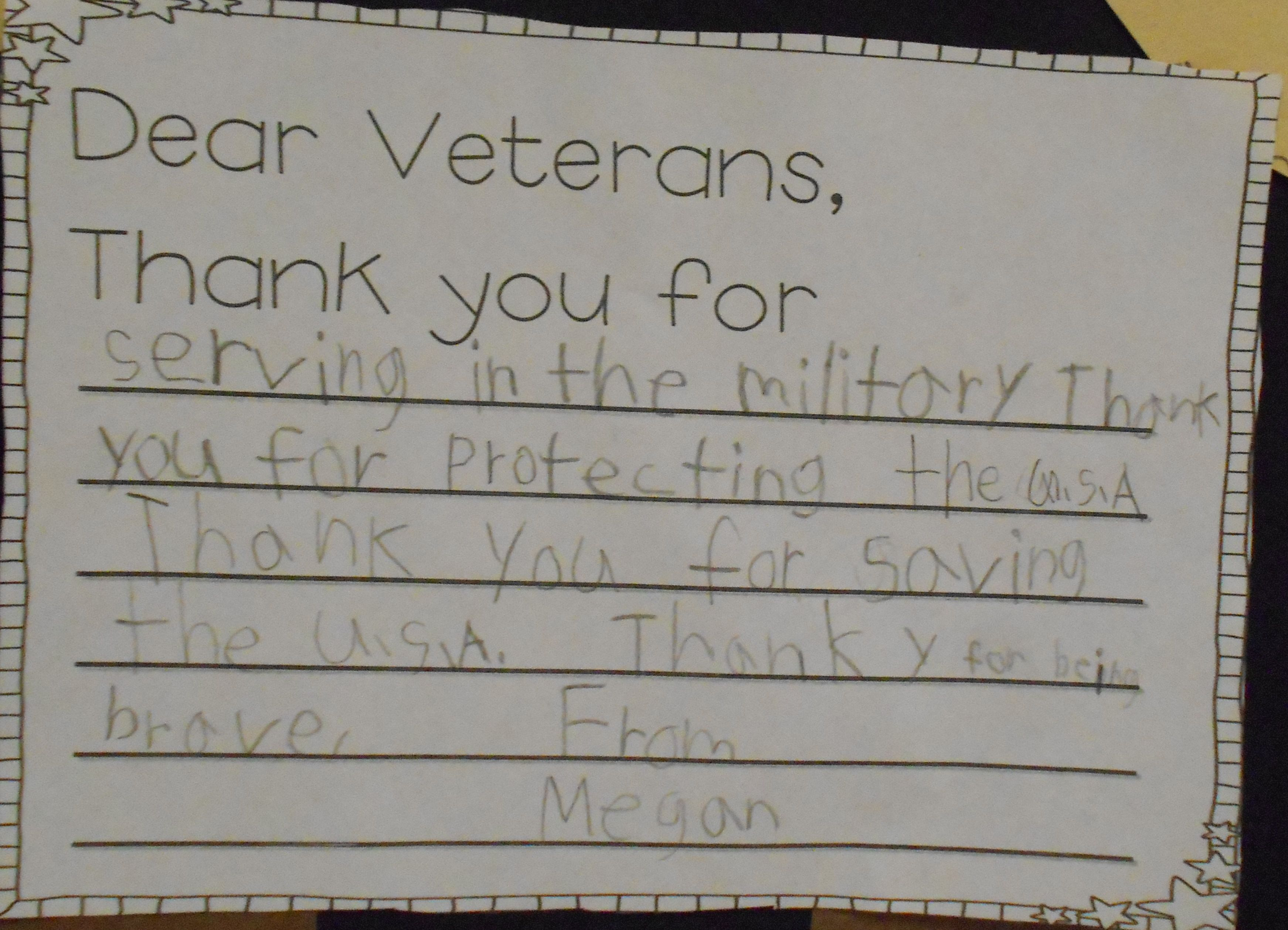 Dear Veterans Thank You For