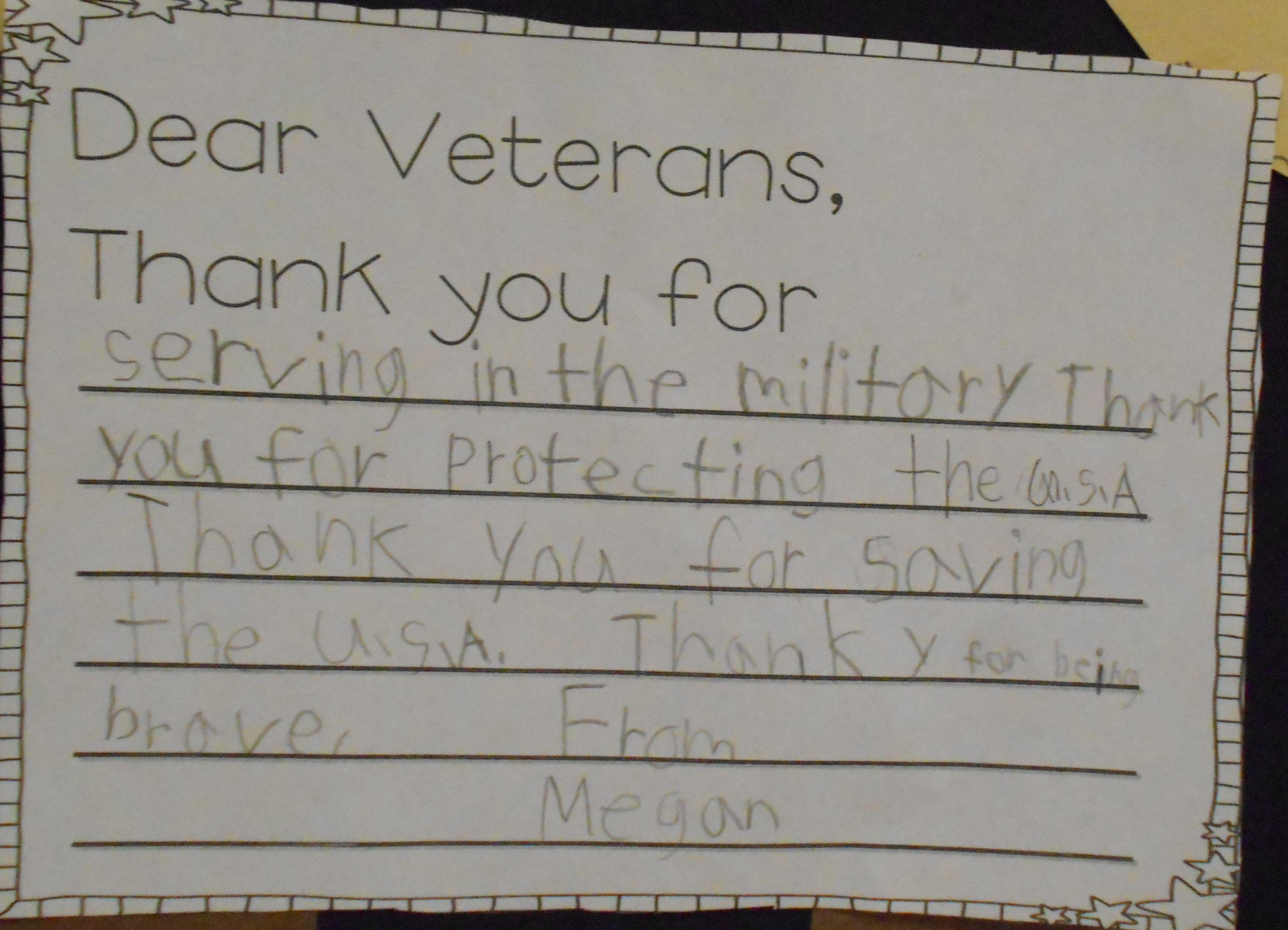 Dear Veterans Thank You For