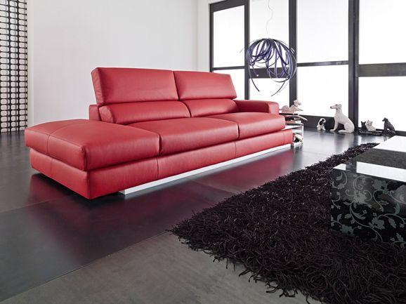 Divano 3 posti moderno con poggiatesta reclinabile in vera - Divano rosso pelle ...