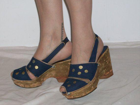 Fantastic 1940s Wartime Platform Wedges W Cork Soles Felt Etsy Platform Wedges Wedges Vintage Shoes