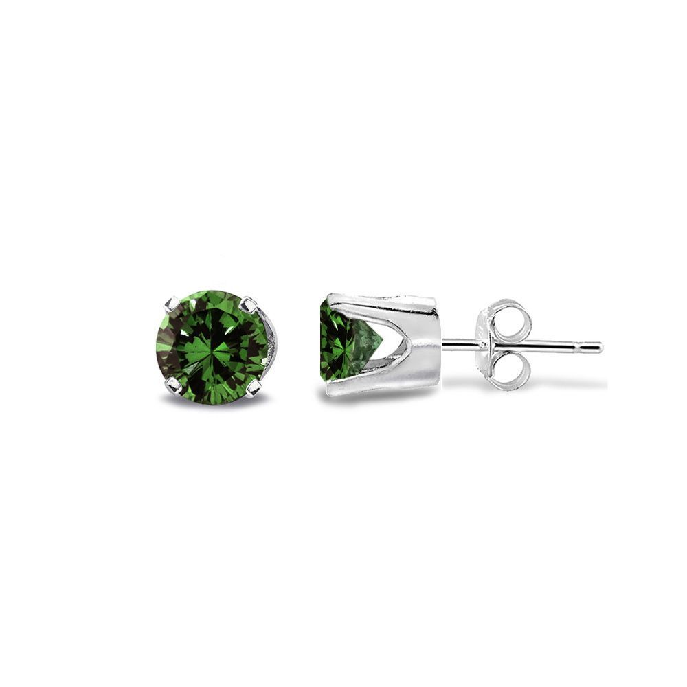 DB Designs 14k Gold 1/4ct TDW Green Diamond Round Stud Earrings