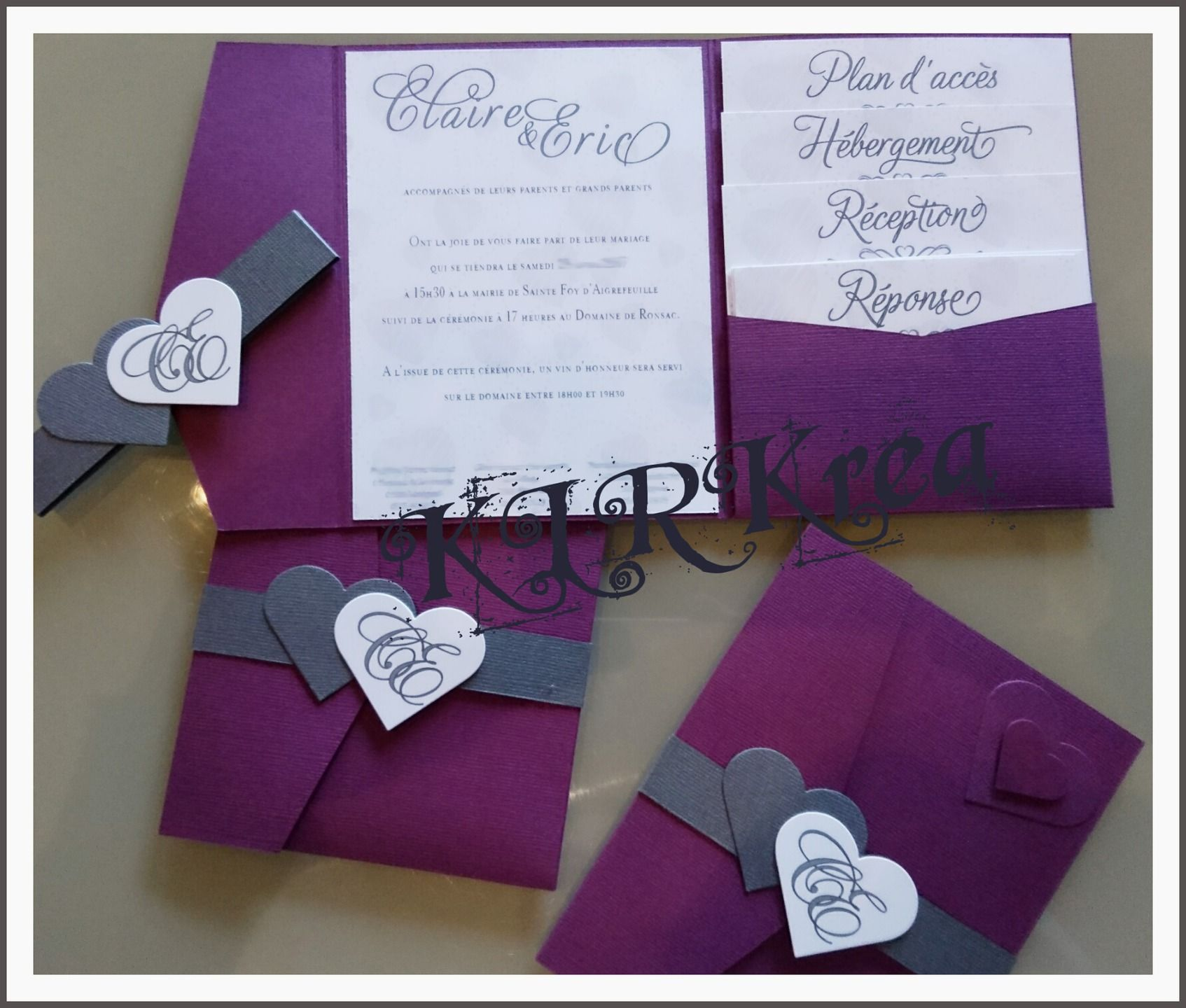faire part mariage violet et gris romantique chic invitation mariage mariage violet. Black Bedroom Furniture Sets. Home Design Ideas
