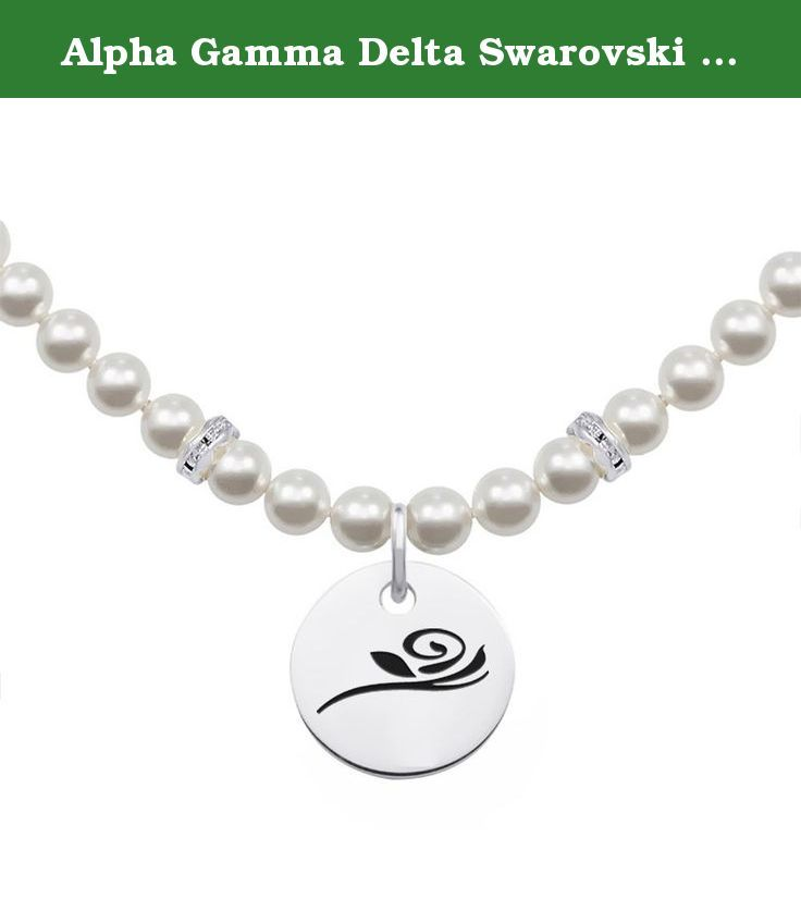 Alpha Gamma Delta Swarovski Pearl Necklace With Round Charm These