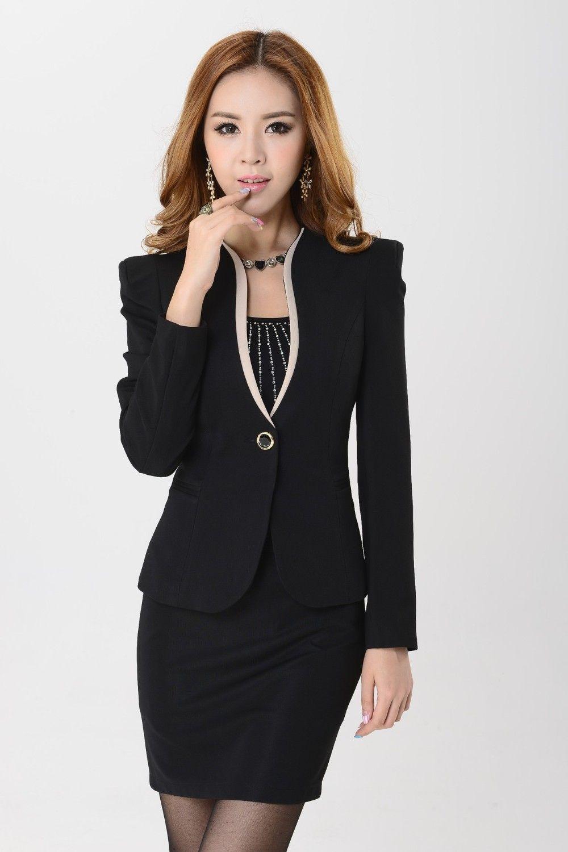 247e4e9b3f Barato Primavera Feminino terno 2015 Custom made Preto Elegante mulheres  terno de Negócio ternos Formais de escritório trabalhar uniforme saia estilo