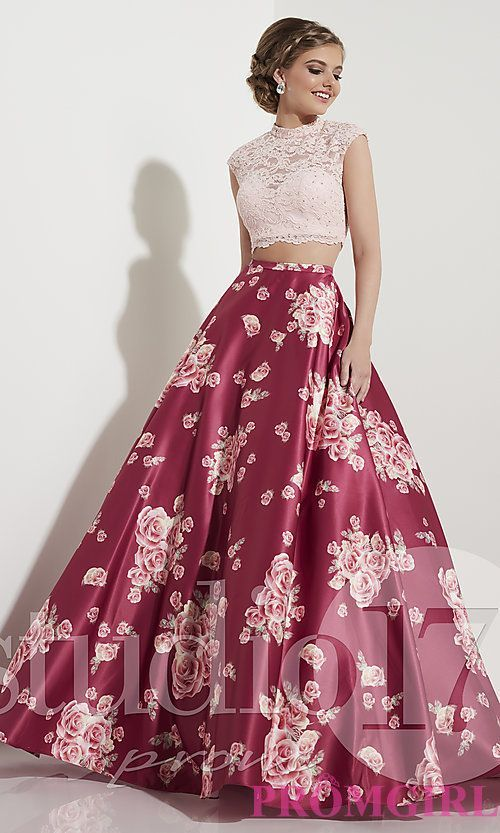 Image of rose wine pink two-piece prom dress with print. Style: ST ...