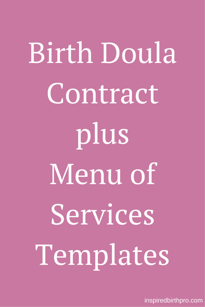 Birth Doula Contract Template  Workbook  Doula Birth Doula And