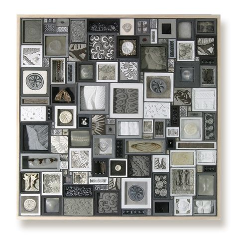 Lisa Nilsson  Specimens of Gray  2005  mixed  12 x 12   Plywood support, glass and grout with found objects and mixed media including, crewel worked thread, plaster, mouse molar, and scrimshaw