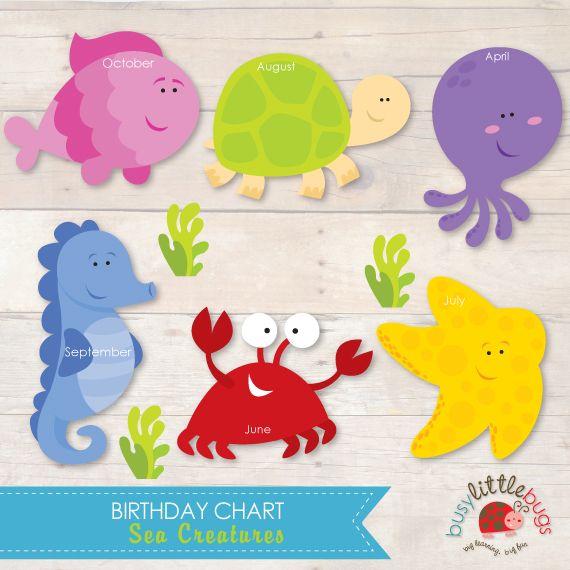 Busy Little Bugs Sea Creatures Birthday Chart for teachers & child educators, 12 mothly sea creatures to display children's birthdays