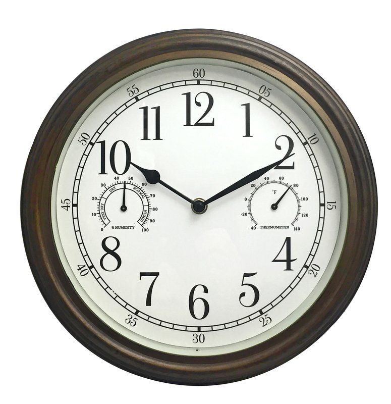 Broadalbin Indoor Outdoor 12 Wall Clock Outdoor Clock Outdoor Wall Clocks Wall Clock