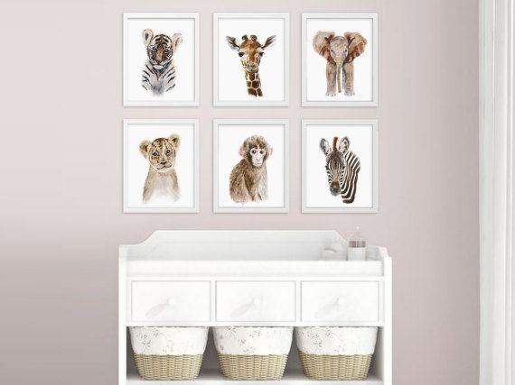 Baby Animal Prints, Safari Nursery Art Print Set, Jungle Animals ...