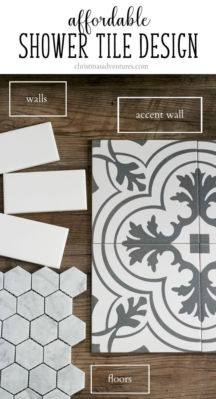 Great resource with information about how to find affordable bathroom and shower tiles, and how to pair them together.  Pin for future reference for sure!