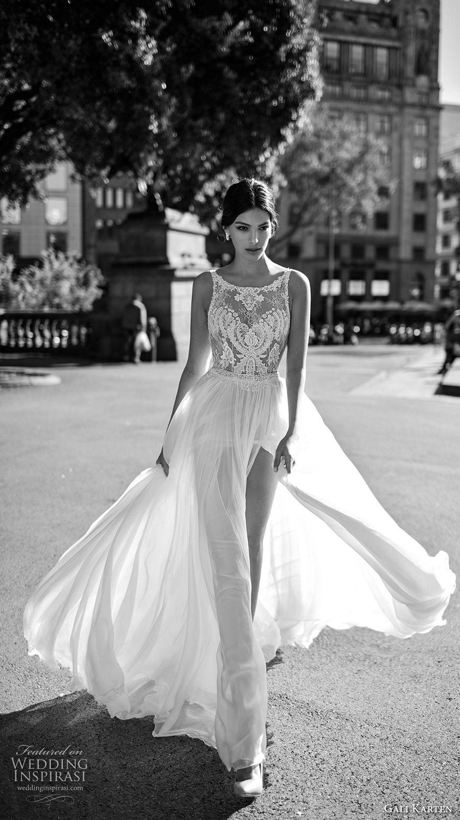 gali karten 2017 bridal sleeveless bateau neck heavily embellished bodice tulle skirt flowy side split soft a line wedding dress sweep train (10) mv -- Gali Karten 2017 Wedding Dresses