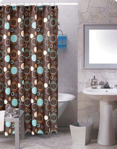 Brown Circles Shower Curtain 12 Matching Rings Bathroom Set New