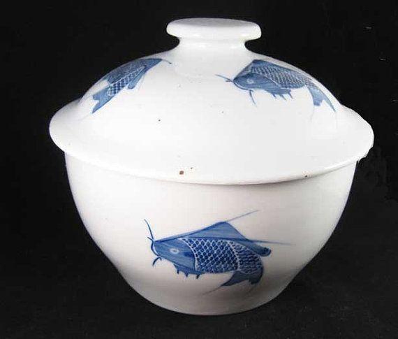 Vintage Chinese Blue & White Carp Fish Rice Pot W/Lid