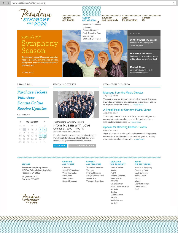 Pasadena Symphony & Pops   Website Design by Studiofluid