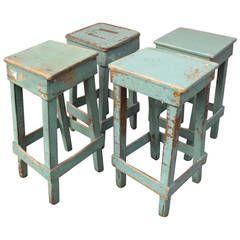 Set of Four Primitive Handmade Stools