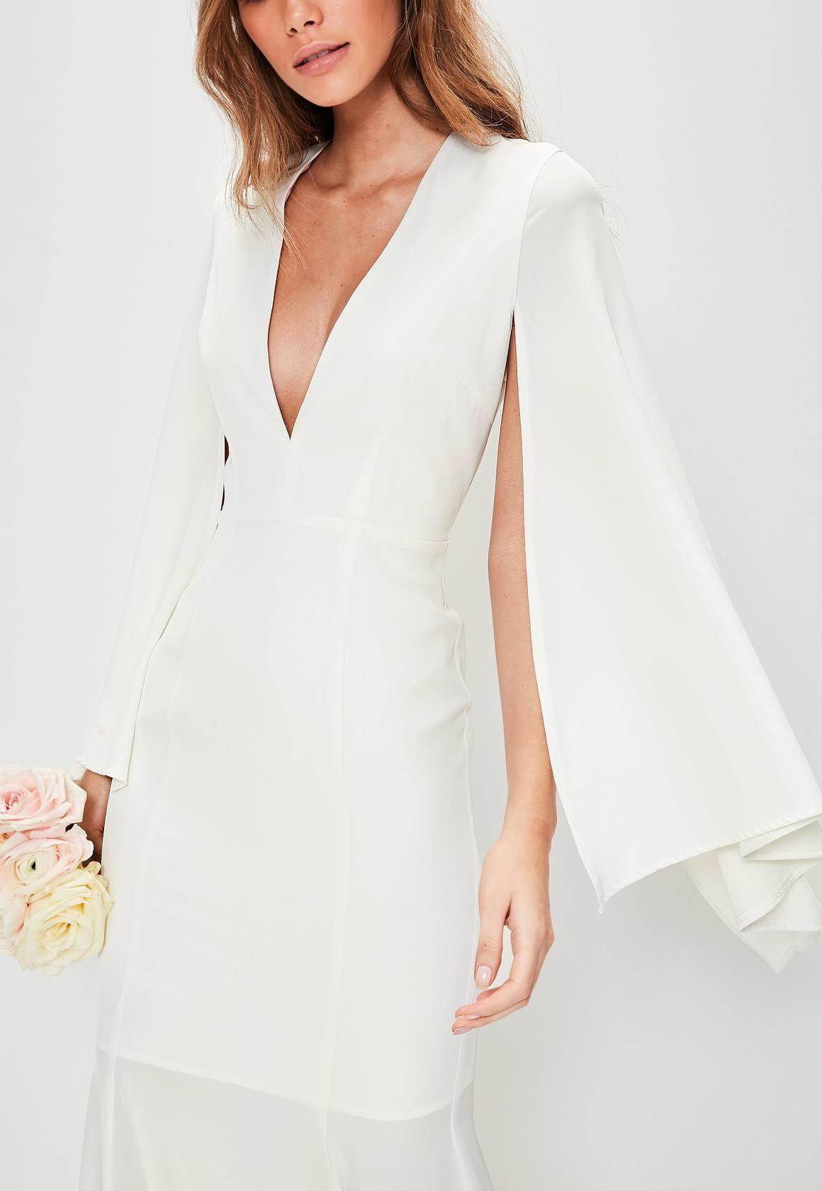 Missguided bridal white v plunge cape sleeve maxi dress 171 no missguided bridal white v plunge cape sleeve maxi dress 171 no free returns ombrellifo Gallery
