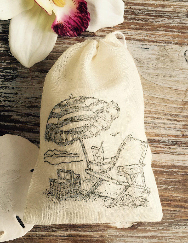 10 beach themed cotton favor bags, beach wedding favors, beach chair ...