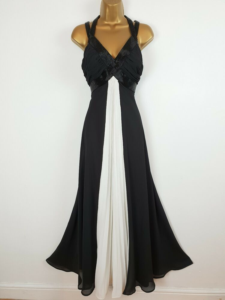 Pearce Fionda Debenhams Black White Pleat Beaded Maxi Dress Gown Uk 10 Fashion Clothing Shoes Accessories Womenscloth Beaded Maxi Dress Maxi Dress Dresses