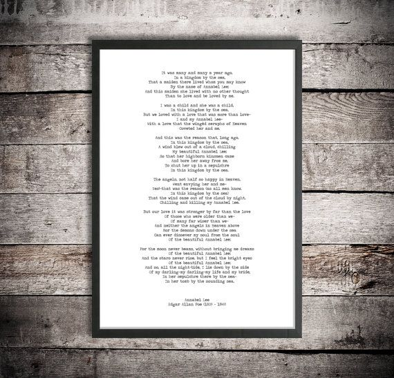 Edgar Allen Poe Digital Download Poem 'Annabel Lee' Instant Printable Poetry Love Poem Romantic Gift #excelwordaccessetc
