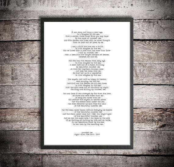 Edgar Allen Poe Digital Download Poem 'Annabel Lee' Instant Printable Poetry Love Poem Romantic Gift #excelwordaccessetc