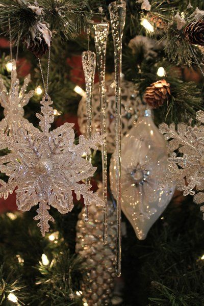 Silver Crystal Rhinestone Snowflake Christmas Tree Hanging Drops Ornaments
